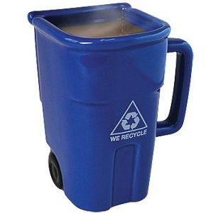 Yes, this may appear eco-friendly. But I wonder if it goes with similar mugs that resemble a garbage and biohazard bins respectively. Also, is this one for paper or plastic?