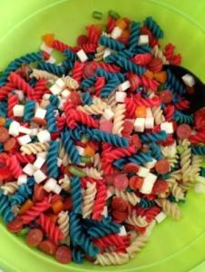 Now this patriotic pasta salad is called this because it's one with the red, white, and blue noodles. Oh, and it has pepperoni in it, too.