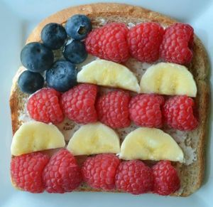 Now this consists of raspberries, banana, and blueberries. Of course, when it comes to patriotic treats, it's easier when it comes to fruit and  desserts. Not so much with other foods though.