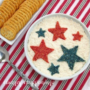 Now with some red, white, and blue dip, your crackers can now be dipped into some patriotic cheesiness. Just don't do it twice, as we've all know about the rule against double dipping.