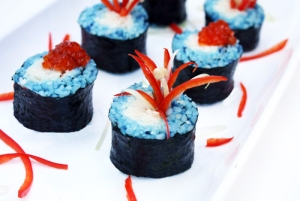 Don't tell me that they celebrate the 4th of July in Japan. Then again, this might be some Japanese American idea. Still, I like how some of the red peppers give the impression of fireworks. Also available in caviar. But please, stick with the peppers because caviar is expensive.