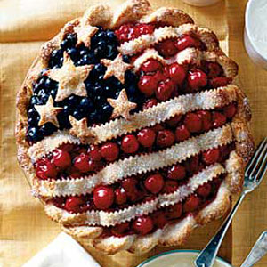 Yes, I'm sure this will make a fine American entry in any American 4th of July pie contest. Well, as long as it tastes good, that is. I'm sure any patriotic American will love this.