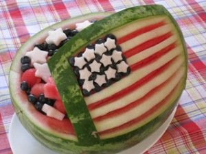 Of course, this fruit salad contains watermelon as well as blueberries. But still, you have to admire the flag design on this.
