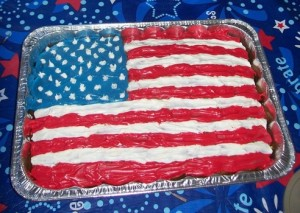 Yes, this is a cake of the American Grand Old Flag, a high flying flag, and forever in peace may it reign. Okay, I'm sorry George M. Cohan but I know that you weren't really born on the 4th of July unlike Calvin Coolidge (who was kind of a shitty president during the 1920s).