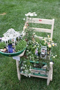 Seems that a lot of fairies tend to reside in this beautiful chair garden. The flowers are simply breathtaking in this.
