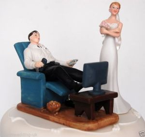 I can understand why the groom would want to kick back on his recliner and TV after the altar trip. Wish the bride could have something to relax on, too.