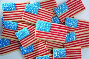 Now I'm sure putting the 50 sprinkles in the blue part wasn't easy. Then again, these bar cookies could've been done by a professional baker. But they will go nice with the American flag cake.