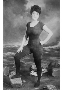 Of course, Kellerman wasn't a fashion model by any means. She was a swimmer and performer who pretty much invented synchronized swimming. She wore this get up for practicality since women's swimsuits weren't really designed for actual swimming. But she caused such a scandal because it exposed her body form which was a Victorian no-no. Of course, today, it would seem more like gymnast attire than anything.