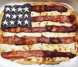 Sure it may be a very American pizza dish. But please, all that bacon, cheese, and corn chips can't really be good for you. This goes especially for the bacon stripes.