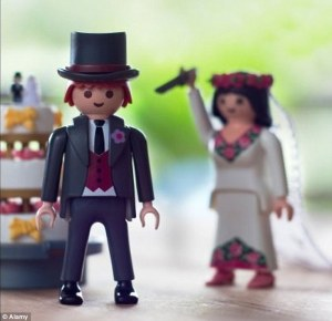 Seems like this groom just married a black widow, or a woman who'd soon become one if he's her first one. Yeah, and this is coming from a company that makes toys for children. That's pretty twisted.