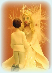 Okay, now despite that Frozen was inspired by the Snow Queen story. The tale is about a magical ice queen who abducts a child and keeps him in her castle for a long time. Hardly a subject for a wedding cake topper.