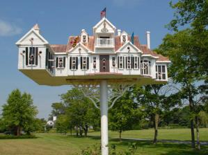 Now this is supposed to be a replica of a house in Maryland created by a guy who specializes in these kinds of birdhouses. Still, whether bird or human, I'm sure one like this won't be very cheap in any case.