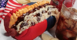 Surprisingly, this was created by a Brazilian food vendor last year during the Men's World Cup in Rio de Janiero. I'm not sure if you can get it in the states unless one person gets an idea. Still, I'm sure the vendor got a lot of stuff right about Americans in this one chili dog, which is kind of disturbing.