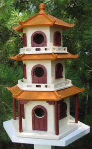 I wonder if they design birdhouses like that in Asia. I mean this kind of resembles a kind of avian pagoda to me for some reason. Still, I'm sure the birds will love it.