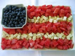 Now this tray consists of watermelon, blueberries, and cheese. Yes, doesn't have much of a selection but when it comes to 4th of July treats, you have to go with the red, white, and blue.