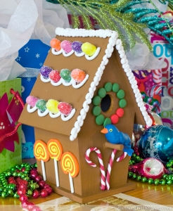 I'm sure this isn't intended for actual use because a gingerbread birdhouse wouldn't be a long lived one. Seriously, I'm sure birds and other woodland creatures will surely devour it at some point.