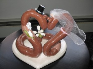 Earthworms on a wedding cake topper? Seriously? I mean they're slimy ground dwelling creatures for God's sake. There's nothing cute about them whatsoever.