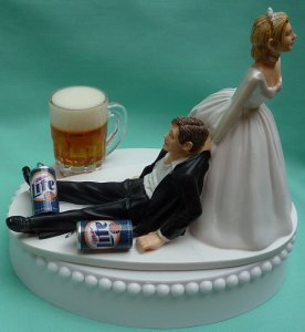 Now if one of you is found drinking with beer cans on the day of your wedding, I think you should really reconsider going through with it. Seriously, alcoholics make terrible spouses and calling it off may be a waste of money now but it will save you a lot of potential divorce costs in the long run.