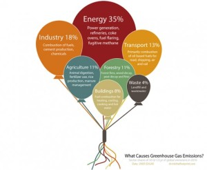 This is an infographic on greenhouse gas emissions that cause climate change, derived from the International Panel on Climate Change's assessment report of 2010. Seems the highest carbon offenders tend to be from energy, industry, and transportation. It's no surprise that executives of American and multinational energy and industry companies tend to be the most vocal deniers of climate change as well as most environmental problems in general.