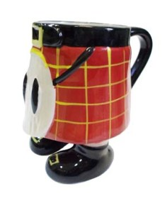 Now this ceramic red kilt mug also has legs to go along with it. Nevertheless, I can't help whether they wear anything under there. Then again, I must've gotten me mind in the gutter.