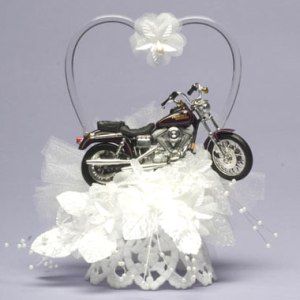 Now a motorcycle wedding cake topper is one thing. But one in a field of lace? Now that's in poor taste. Just because lace is pretty and Harleys seem badass, doesn't mean that the two should go together.
