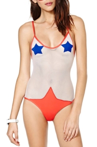 Of course, this person thought a mesh swimsuit should show as much of the body as possible. While the bottom is covered all right, I'm not sure about the top in which the nipple areas are covered with stars.