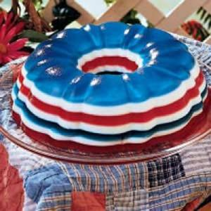 Now this is a bunt jello dessert in red, white, and blue layers. Of course, I seem to have a lot of jello dishes in my post for some reason. Maybe it's because it's summer.