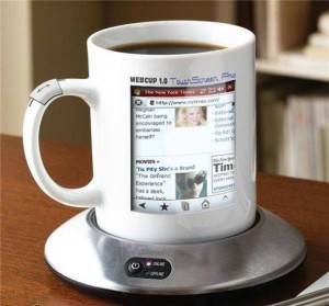 So I guess this is expensive as hell or doesn't really work. Talk about going online while you drink your coffee in the morning. Seems kind of ridiculous to me.
