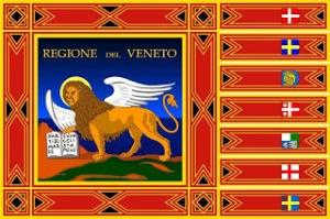 Granted, this was derived from the old flag of the Venice Republic. But still, while the winged lion with a book is actually cool, it's surrounded by too many border designs. Also, on the borders are 7 tiny little flags or coats of arms. I can't tell. I'd more or less expect such design to be on a box for a D&D game.