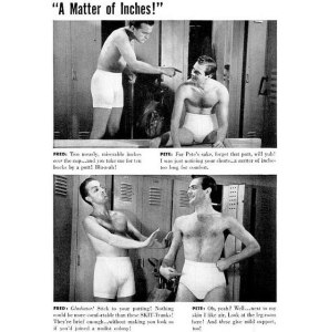 Oh, they're arguing about underwear. Still, for the many awkward situations in the men's locker room, I'm not sure if this is quite realistic. Seriously, most guys would either be stripping down for showers or getting dressed. Not sure about the socializing in their briefs or tidy whiteys.