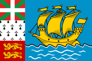 This is a tiny island territory off the coast of Newfoundland. The three  flags on the left are supposed to represent the Basques, Bretons, and Normans. However, the boat seems to be drawn straight from a Saturday morning cartoon. Or an educational cartoon about Christopher Columbus from the 1970s.