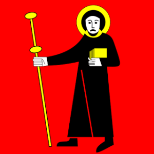 Now this consists of a frowning monk with a halo, a staff resembling an antenna, and a book all in yellow. Guess this guy's frowning due to his inability to bring the word of God to the extraterrestrials.