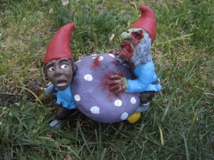 And it seems that zombies are partial to the dark meat since it's well known what happens to black guys in horror movies. Of course, I'm sure black gnomes are no different.