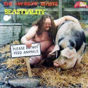 Now I might not like a naked fat guy on the cover, but that's not my issue here. My issue here is that they put a naked fat guy on the cover with a pig on an album titled Bestiality. Seriously, I think I have an idea of what's going on and think it's depraved.