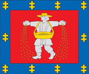 I know the guy is supposed to be sowing seeds, but I can't help but look at this and get the impression of the Quaker Oats guy throwing out Rice Krispies. Also, the border does little to give this flag any dignity whatsoever.
