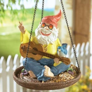 Not sure why he has a bird on his guitar or why he's on the bird feeder. Either way, he seems quite groovy, man.