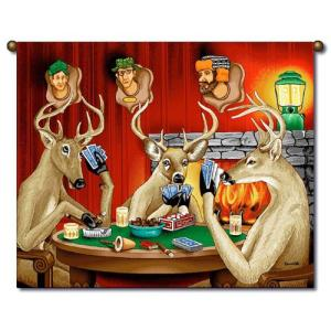 Seems like Bambi and his friends love doing two things in their spare time:  playing poker and killing hunters for revenge. Yes, you wouldn't want to see these bucks in the headlights. Love how they're smoking and drinking beer.