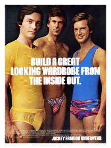 I don't know about you but I don't think many men would go for fancy underwear like that. Seriously, men don't really care how they look inside. Also, that kind of fancy underwear makes these guys look as if they've just walked out of a San Francisco gay bar.