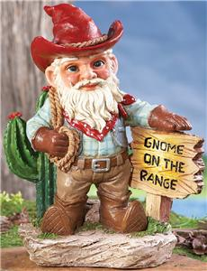 Of course, I'm not sure if he's a cowboy gnome or a rancher gnome. Then again, despite being in cowboy clothes, I'm not sure if he even works with cows. Because if he don't have cows, then he's no cowboy.