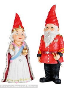Now that obviously has to be a take off of Queen Elizabeth II and Prince Philip. Of course, the Prince Philip one is depicted in traditional gnome fashion.