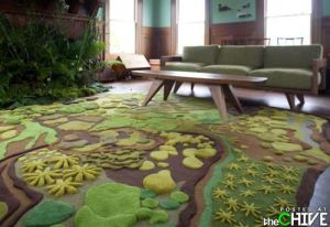 I mean a rug that resembles topography. You know hills, mountains, and all. Also, I should count flora, too like greenery.