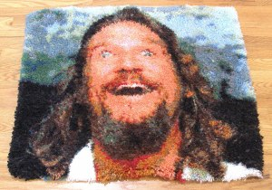 Now this rug is of the Dude's face from The Big Lebowski. Let's just say, you'll see a few of these from this movie. Because part of it pertains to a rug.