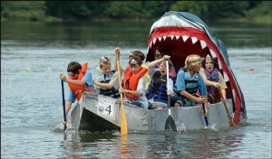Now I know this is a regatta float with a Jaws theme and I'm sure the shark isn't real. Still, I'm wondering if these kids are going need a bigger boat.