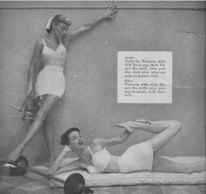 Hmmm...not sure if I agree with this ad here. Then again, they could be wearing a sports bra with an athletic girdle and garter belt with them. Not sure if the latter ever existed though.