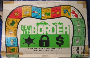 Game about the drug trade at the US-Mexican border where players represent drug mules. Dealers are named Eduardo, Renaldo, and Jose. Hopefully nothing racist about that. Oh, wait a minute, yes there is. Yes there is.  The kind of game less offensive to Mexicans than the Frito Bandito.