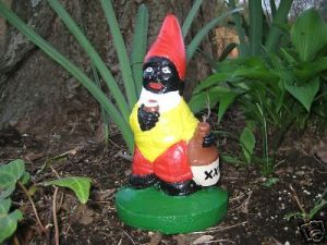 I don't know about you, but I think there's something a bit racist about this gnome. I'm not sure what. Could it be because it looks painted in blackface and is drinking booze? Yeah, that's probably it.