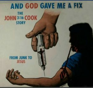 Now I know this is a Christian album, pertaining to how Jesus saved a guy from a heroin addiction. But still what's with the big hand inserting a crucifix into a guy with a hypodermic needle. Seriously, if this is about a guy finding God and overcoming a heroin addiction, I'm not sure if you want to use motifs pertaining to drug use.