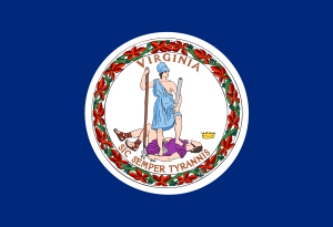 Let's see. This flag seems to symbolize Virginia's victory over the Brits in the American Revolution.  Of course, I'm not sure why they'd include a woman with an exposed breast killing a crowned guy in a purple outfit. I mean violence and partial nudity aren't stuff you'd want on a flag.