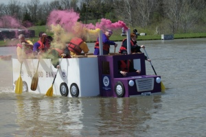 Now this float is said to be sponsored by the local food bank. However, I think it's just a front for Willy Wonka. Seriously, no semi discharges smoke like that. Not in a million years.