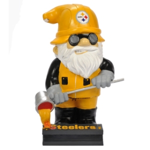 For some reason the molten steel he's pouring seems to resemble Cheez Whiz. Still, you'd find that a lot of college and pro sports teams have their own collectible gnome like this one for the Pittsburgh Steelers.